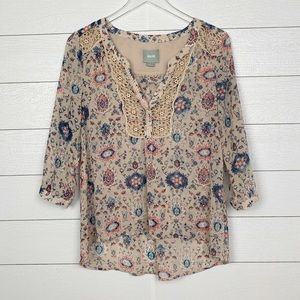 Anthropologie Maeve Floral Blouse-Size 4